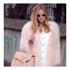 Jackets & Blazers - Beige Ostrich Turkey Feathers Fur Coat